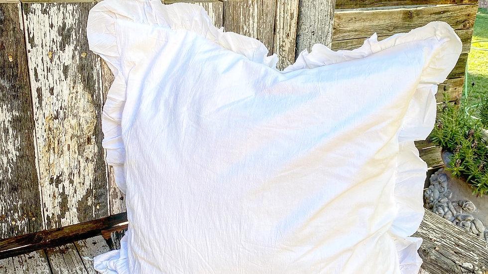 White Euro size ruffle edge pillow with feather insert