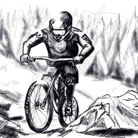 39187660-hand-draw-mountain-bike-downhil