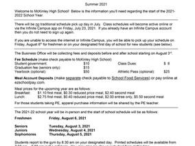 New School Year Info