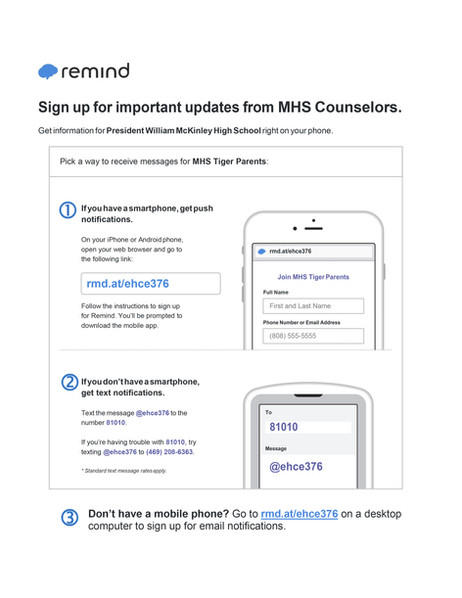 Remind Invite - MHS Tiger Parents Communication