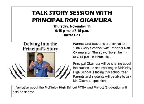 TALK STORY SESSION WITH PRINCIPAL RON OKAMURA THURS NOV 14