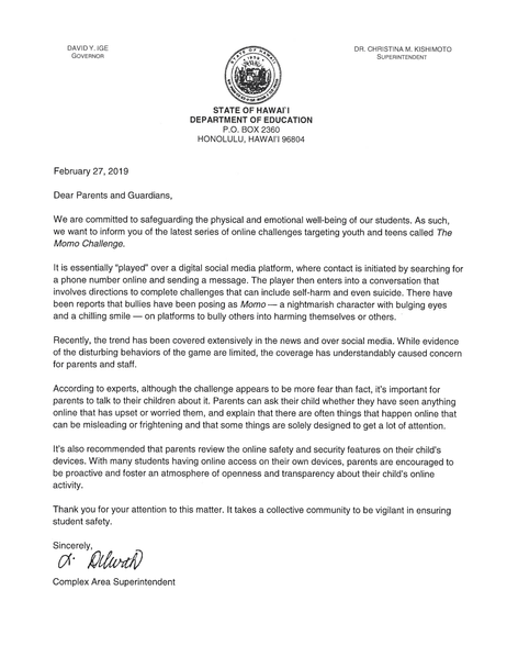 Letter to Parents regarding social media challenge