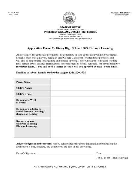 NEW Distance Learning Form Deadline