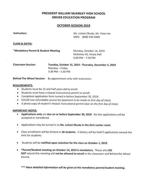 Driver Education October 2019 Enrollment