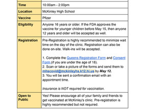 UPDATED McKinley COVID Clinic Information & Registration Links