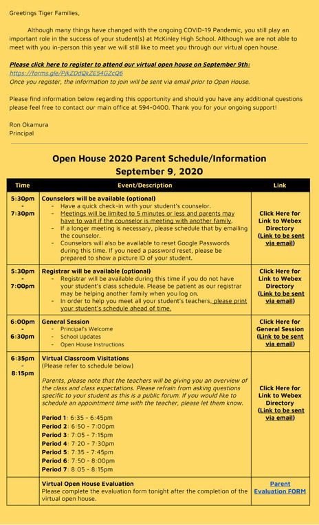 Parent Information for Open House