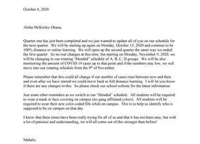 COVID Quarter 2 Parent Letter