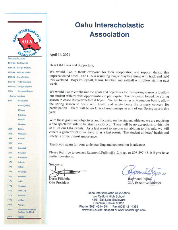 OIA No Spectator Letter
