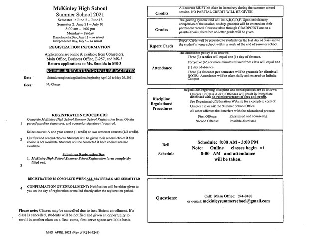 MHS Students Credit Recovery Application