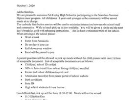 Seamless Summer Option meal program Oct 12 - Dec 18