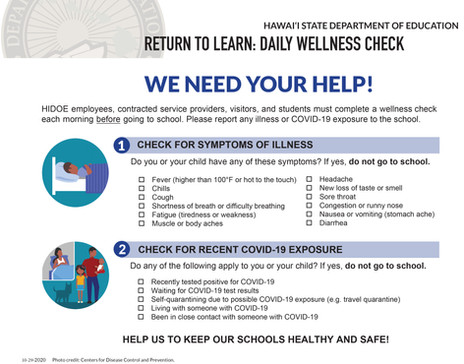 RETURN TO LEARN: DAILY WELLNESS CHECK