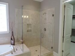 Frameless Shower with Notch Panel