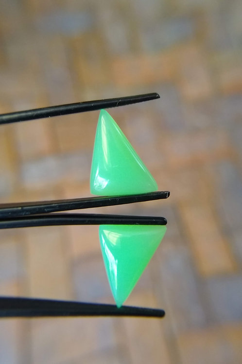 Chrysoprase Triangle Pair