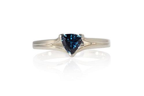 Blue Trilliant Solitare Sapphire Ring
