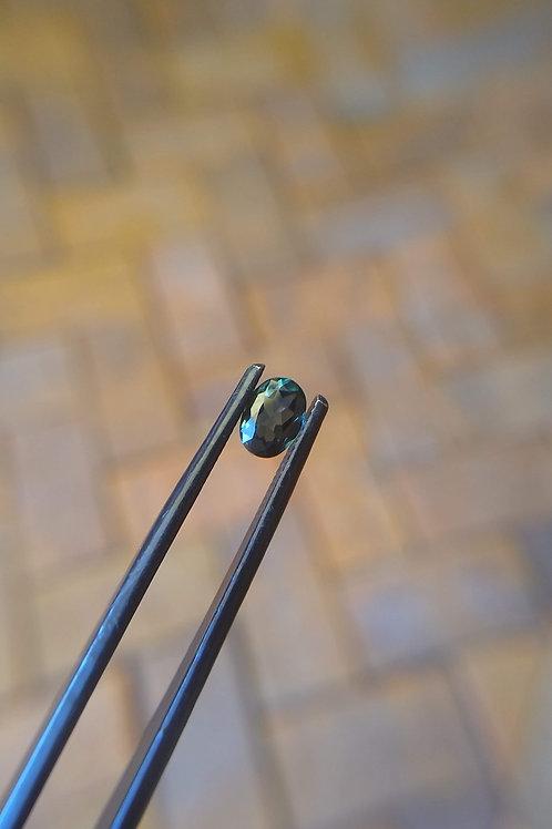 Dk Blue Green Oval Sapphire
