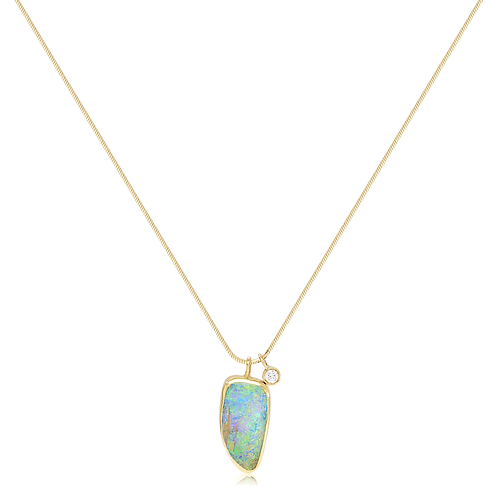 Solid Boulder Opal and Diamond Necklace