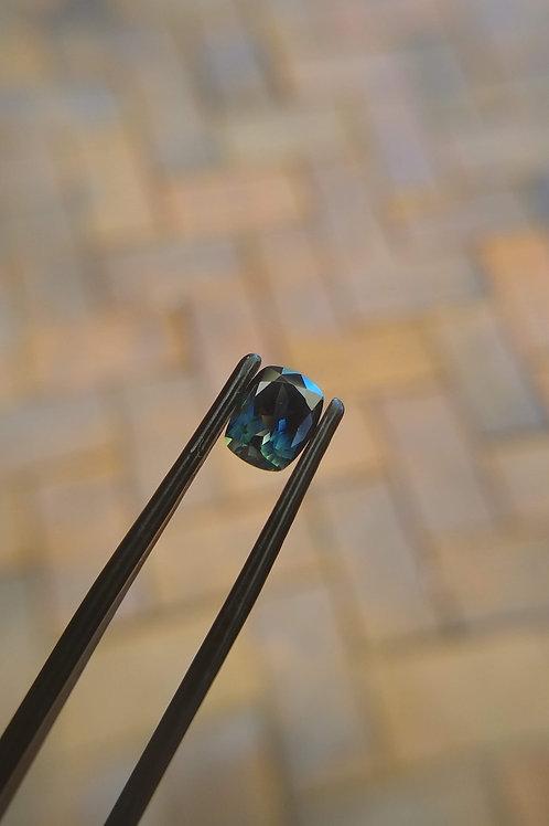 Blue Green Cushion Sapphire