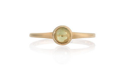 Yellow Cabochon Solitare Sapphire Ring