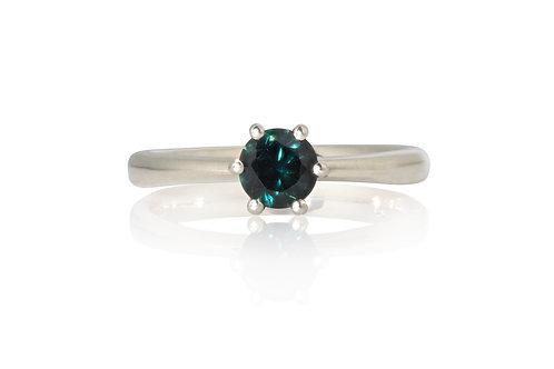 Teal Brilliant Solitare Sapphire Ring