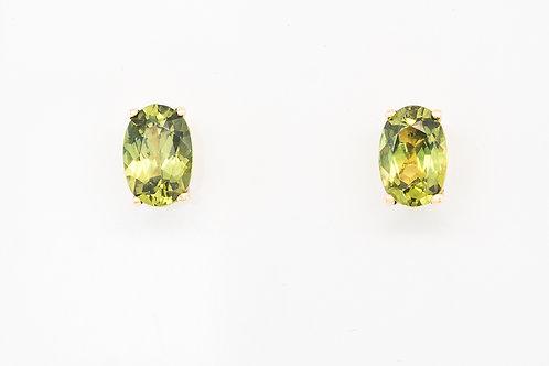 Green Yellow Oval Sapphire Ear Studs