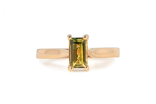 Yellow Blue Emerald Solitare Sapphire Ring