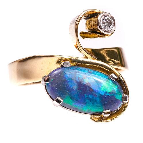 Black Opal and Diamond Dress Ring