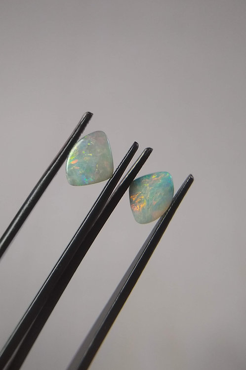 Multicoloured Triangle Boulder Opal Pair
