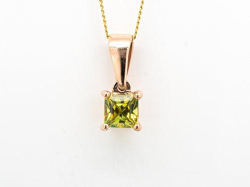Yellow Green Princess Sapphire Pendant