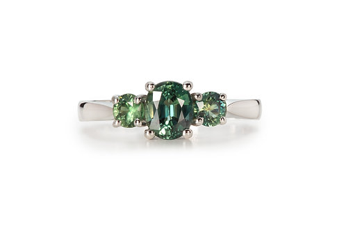 Blue Green Three Stone Sapphire Ring