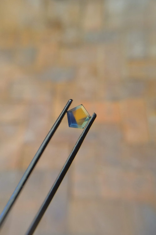Blue/Yellow Pentagonal Faceted Flat Sapphire
