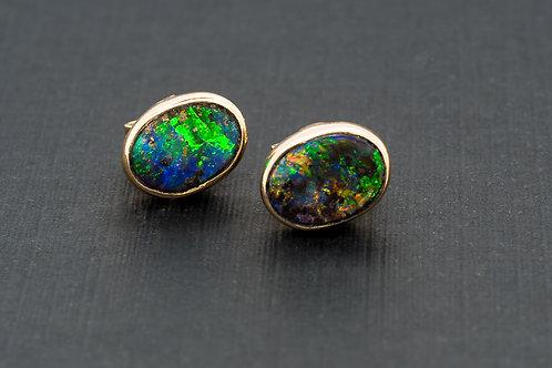 Multicolour Solid Boulder Opal Ear Studs