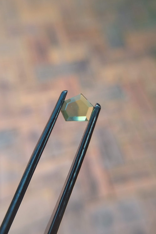 Blue Yellow Freeform Faceted Flat Sapphire