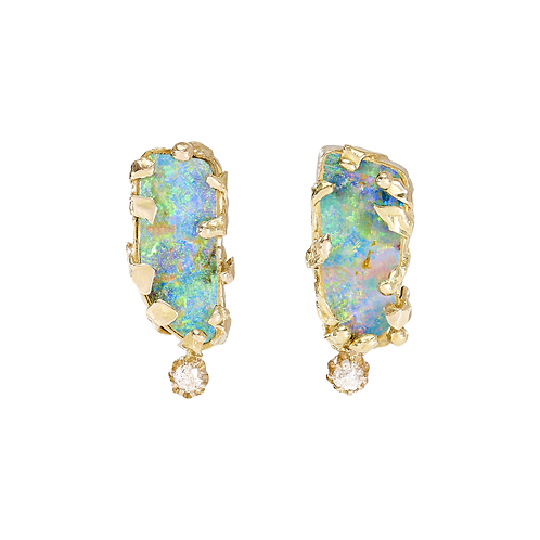 Solid Boulder Opal and Diamond Drop Earpieces