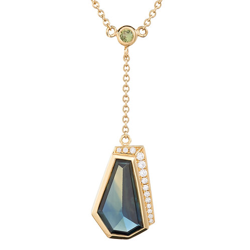 Offset Triangle Freeform Sapphire Necklace