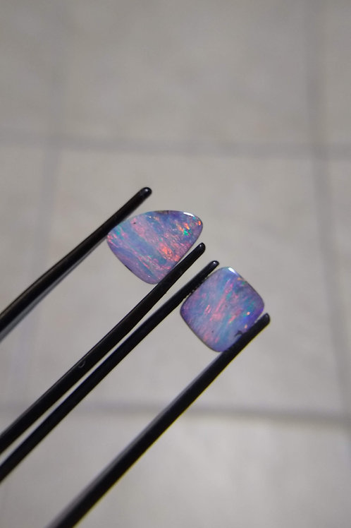 Red/Purple Boulder Opal Pair