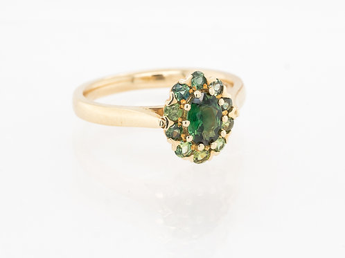Green Oval Sapphire with Green Brilliant Sapphire Halo Ring