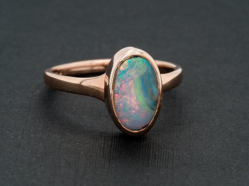 Blue Pink Solid Boulder Opal Ring