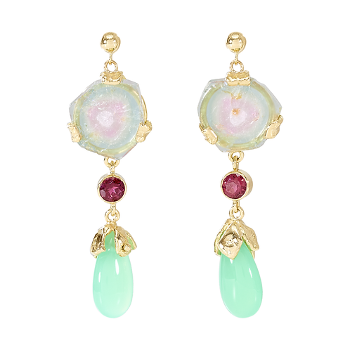 Chrysoprase and Tourmaline Drop Earpieces