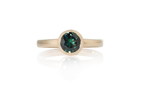 Solitare Teal Brilliant Sapphire Ring