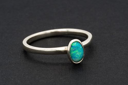 Blue Green Solid Boulder Opal Ring