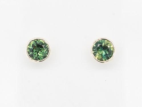 Green Sapphire Brilliant Ear Studs