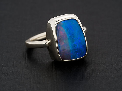 Blue Red Solid Boulder Opal Ring