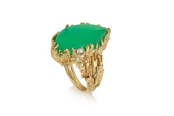 Chrysoprase Ring with Diamond
