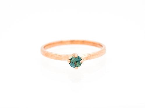 Blue Green Brilliant Solitare Sapphire Ring
