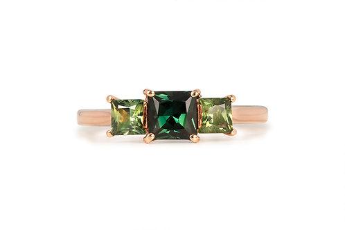 Green Yellow Three Stone Sapphire Ring