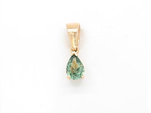 Light Green Teardrop Sapphire Pendant