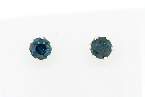 Blue Green Brilliant Sapphire Ear Studs