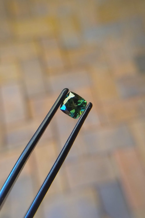Green Cushion Sapphire