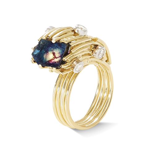 Multicoloured Flat Sapphire Ring
