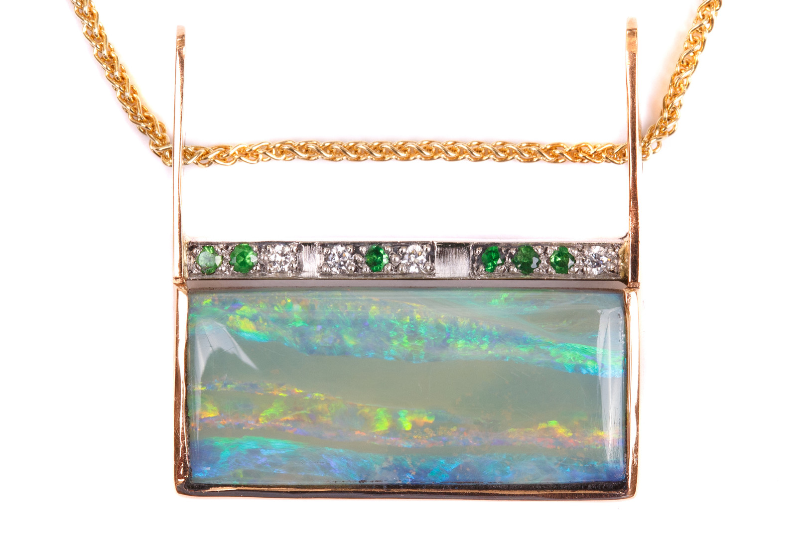 Boulder Opal, Diamonds and Tsavorite Pendant